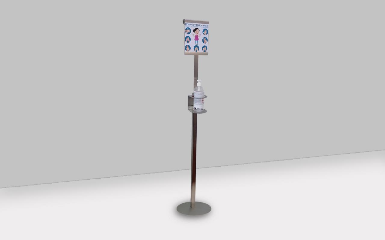 Colonna inox dispenser per disinfettante mani
